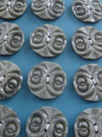 1930s/40s Art Deco Buttons - Carved Early Plastic - Light Grey - Unused on Original Sales Card (sold)
